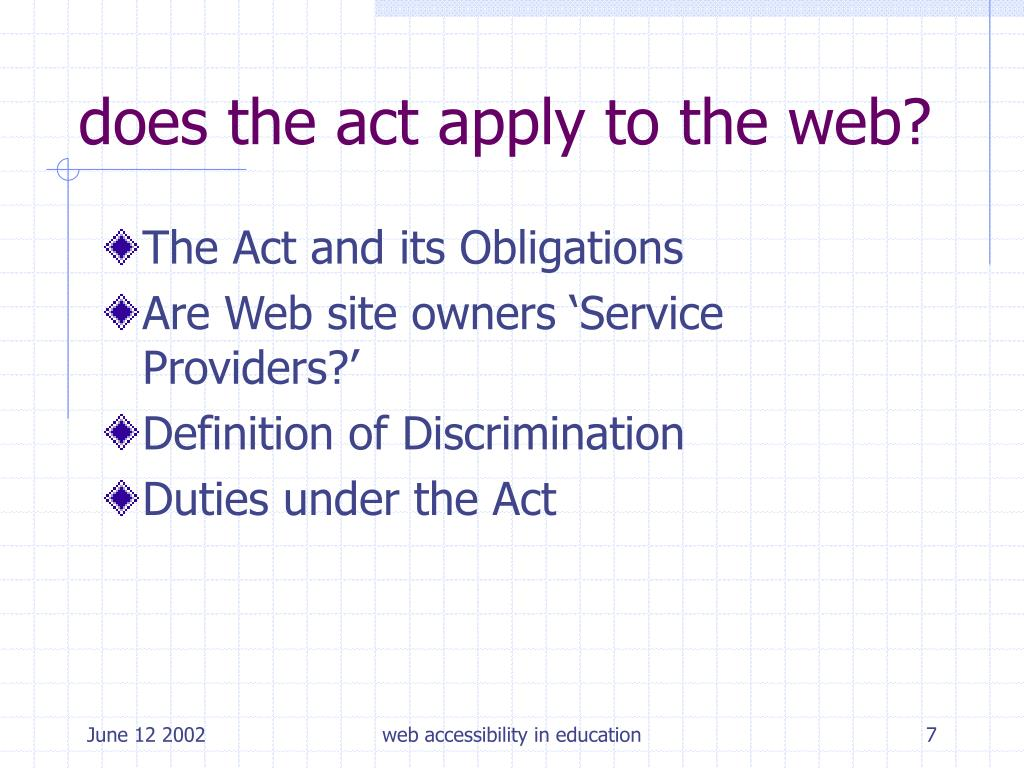 does the act apply to the web?