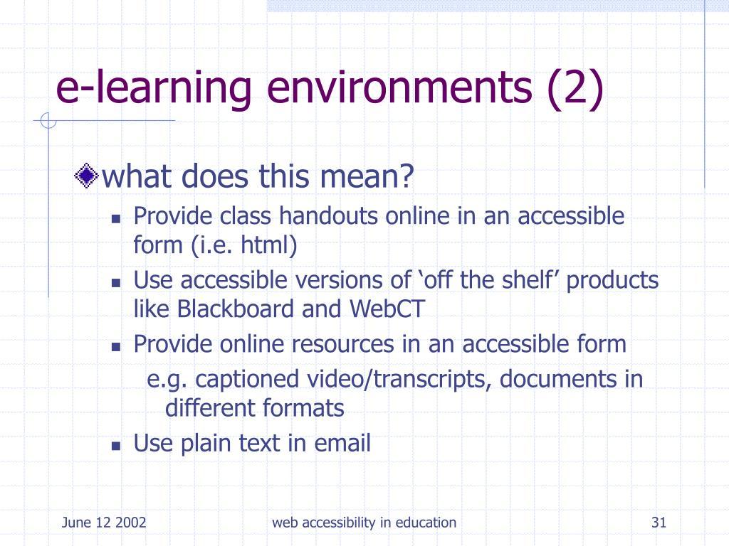 e-learning environments (2)