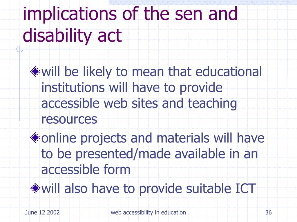 implications of the sen and disability act