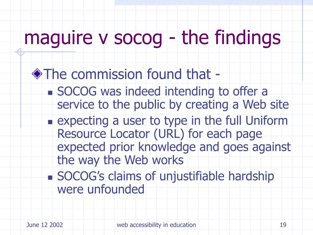 maguire v socog - the findings