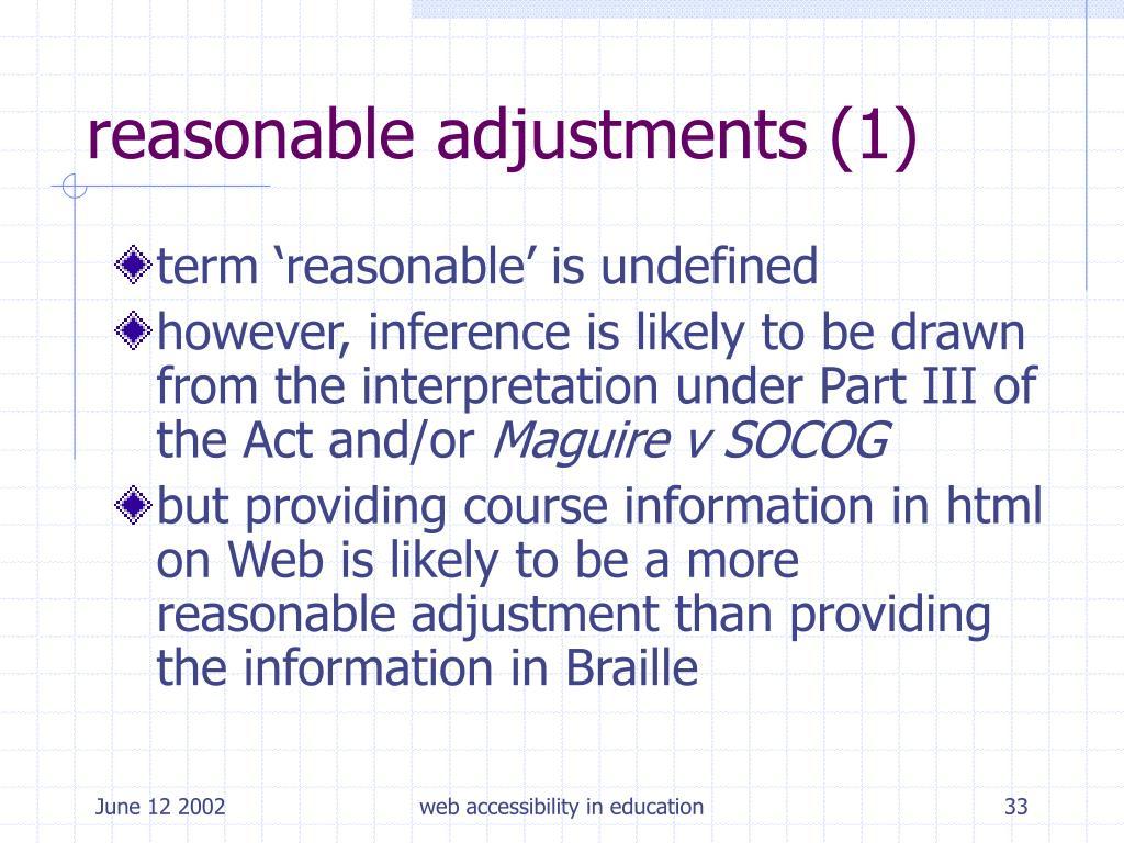 reasonable adjustments (1)