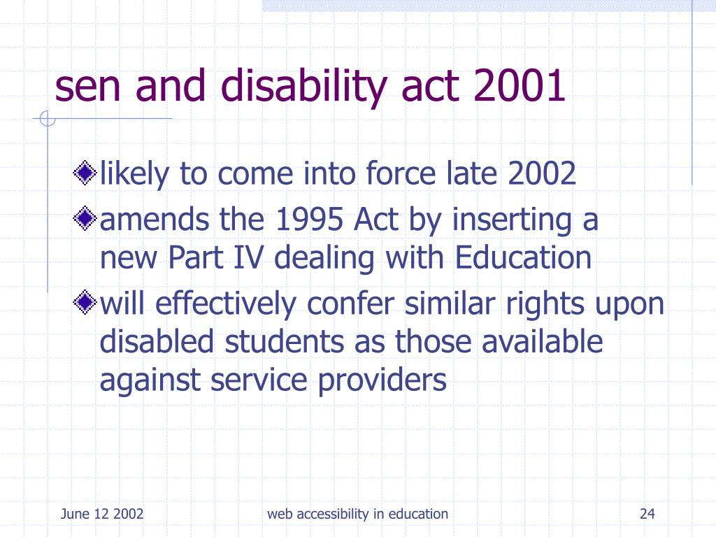 sen and disability act 2001
