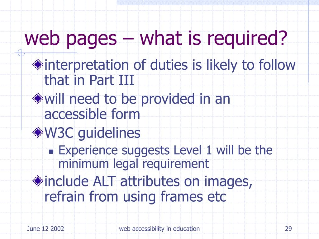 web pages – what is required?