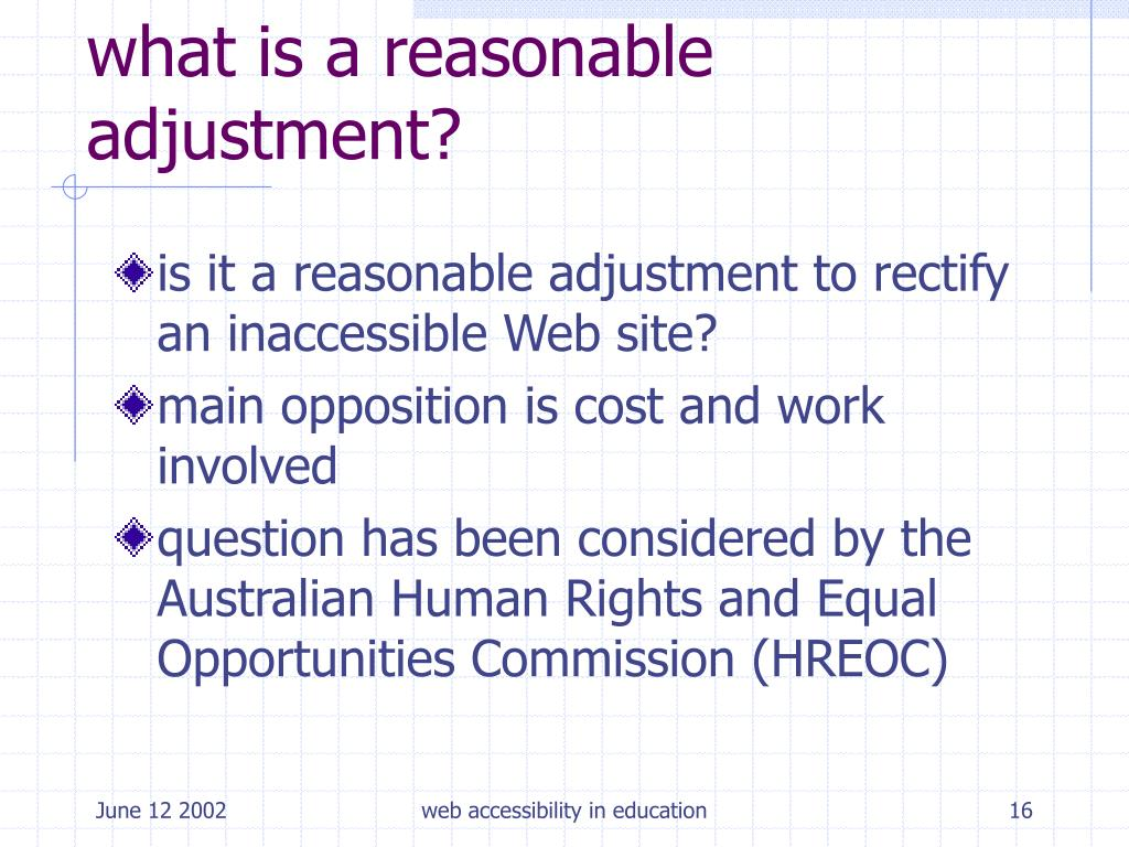 what is a reasonable adjustment?