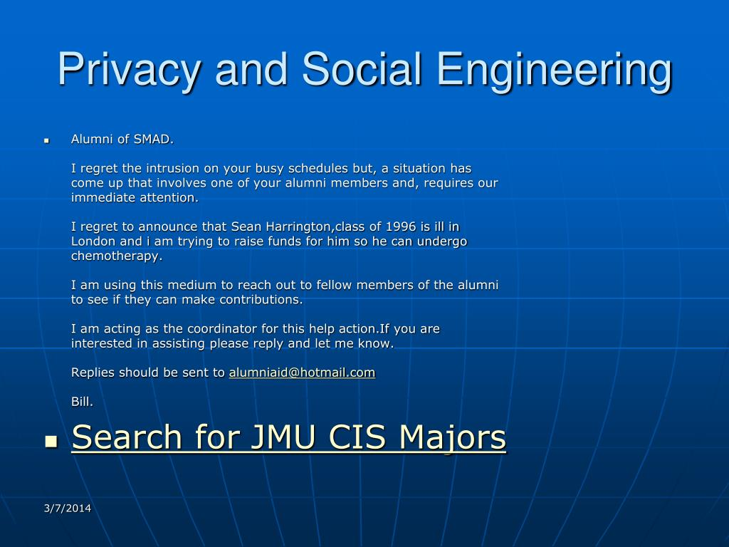 Privacy and Social Engineering