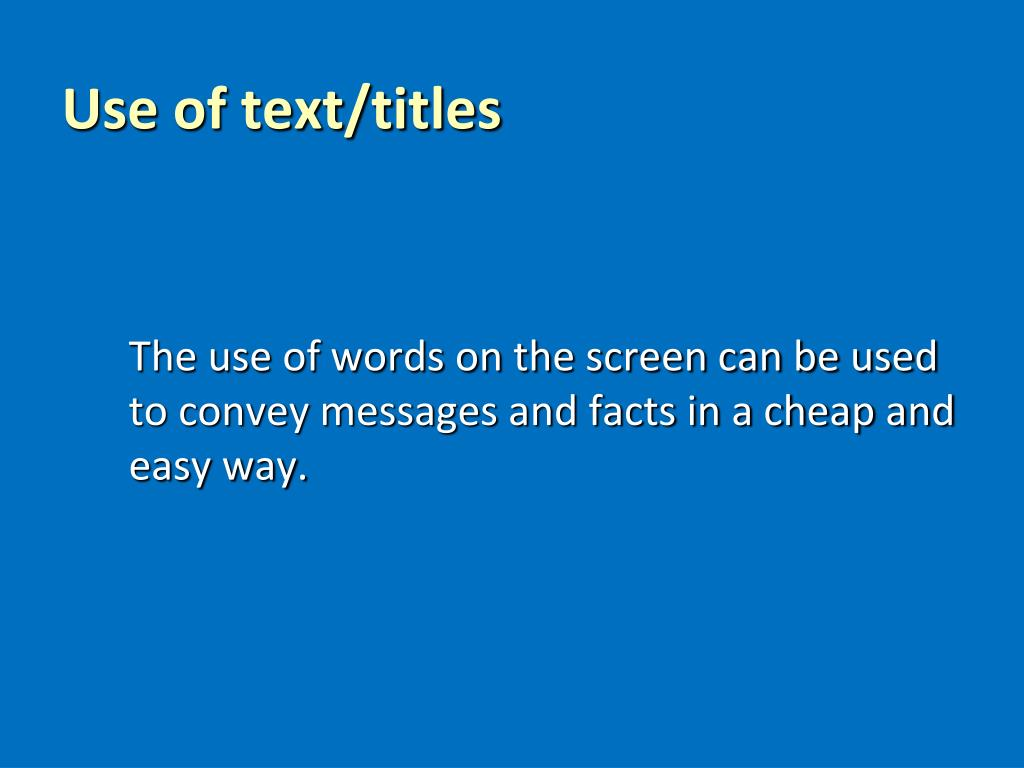 Use of text/titles