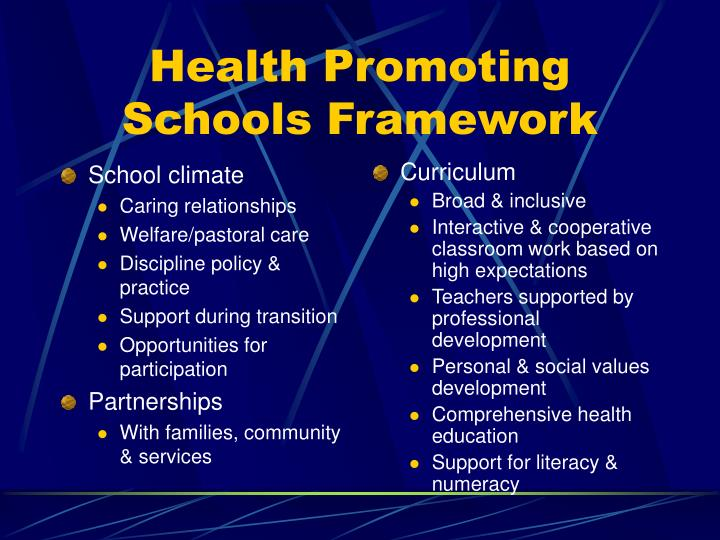 Health promoting schools framework