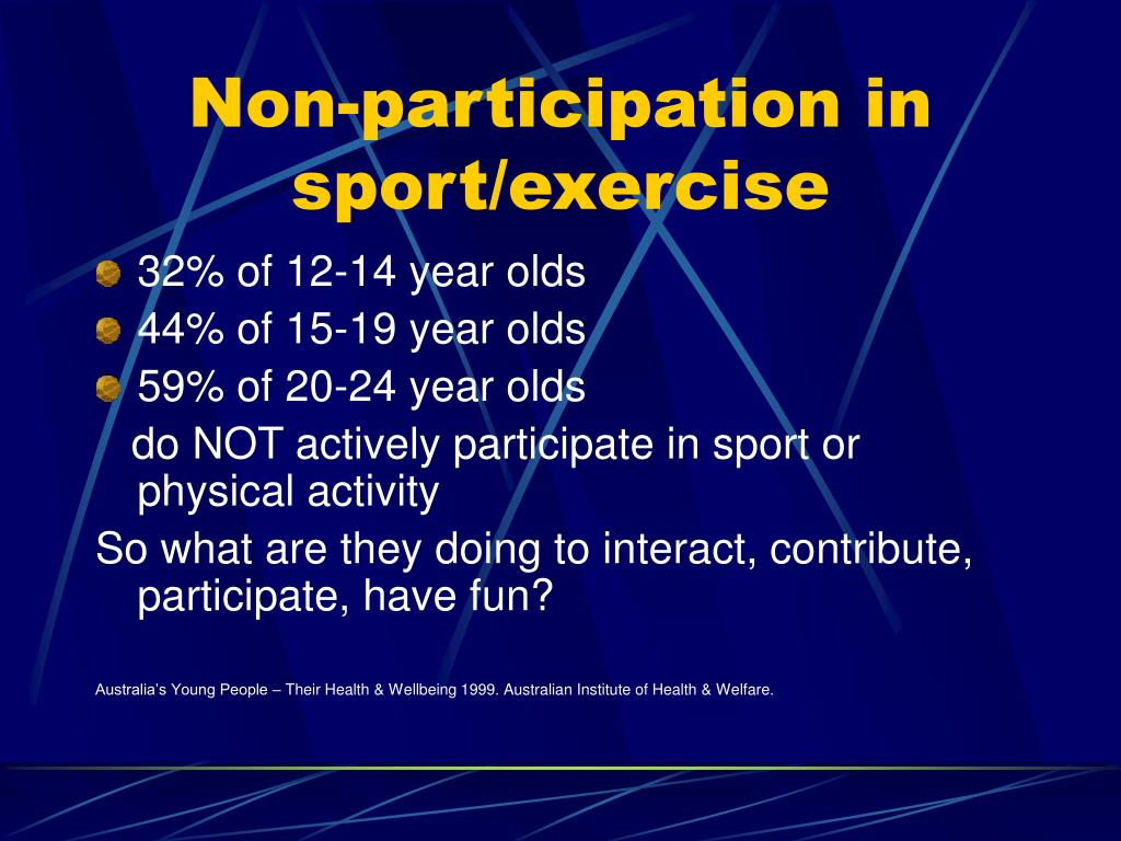 Non-participation in sport/exercise