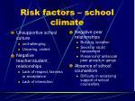 risk factors school climate