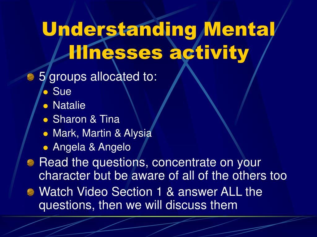 Understanding Mental Illnesses activity