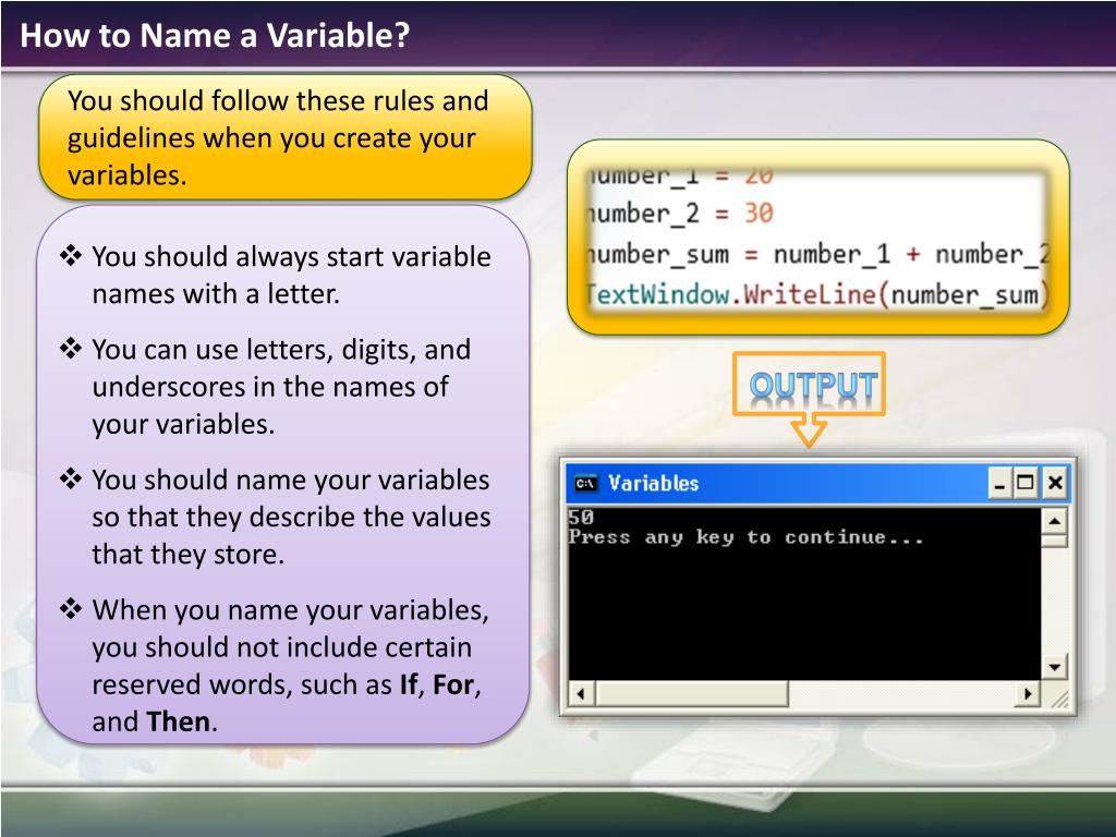 How to Name a Variable?