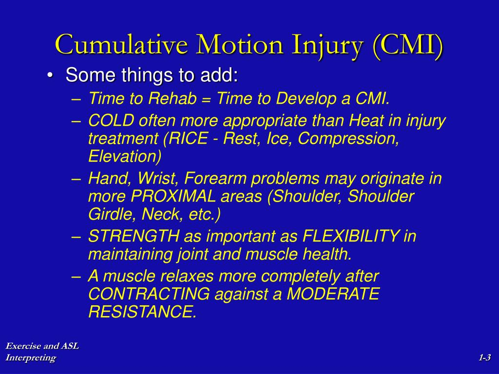 Cumulative Motion Injury (CMI)