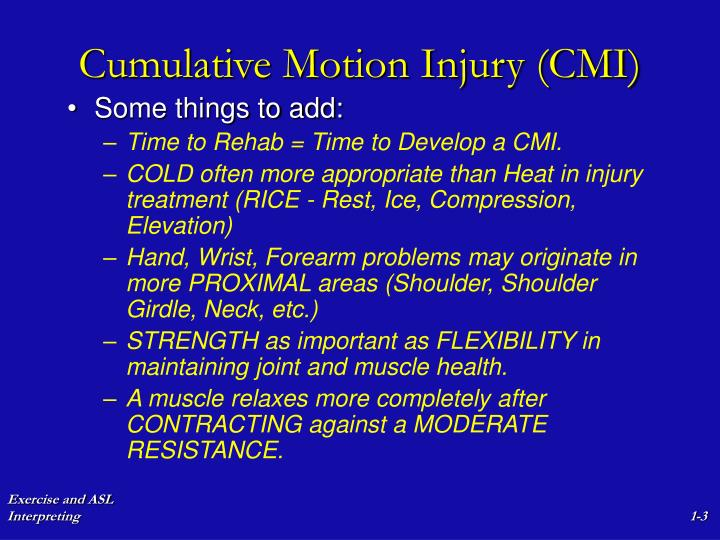 Cumulative motion injury cmi3
