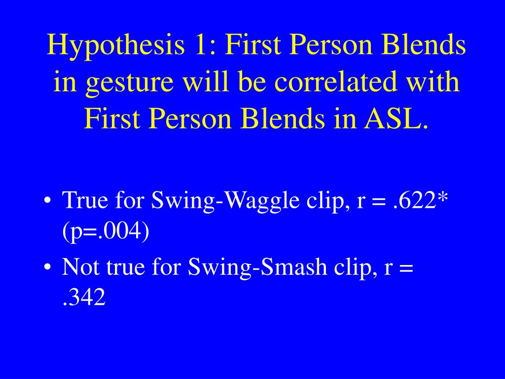 Hypothesis 1: First Person Blends in gesture will be correlated with First Person Blends in ASL.