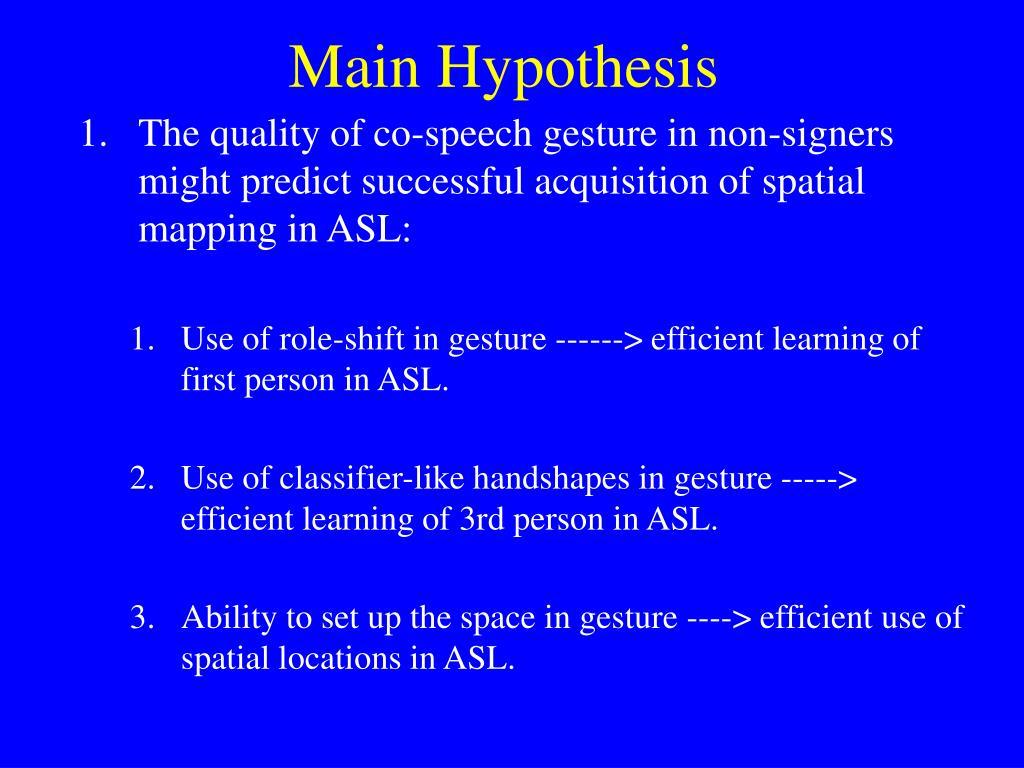 Main Hypothesis