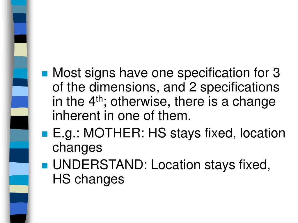 Most signs have one specification for 3 of the dimensions, and 2 specifications in the 4