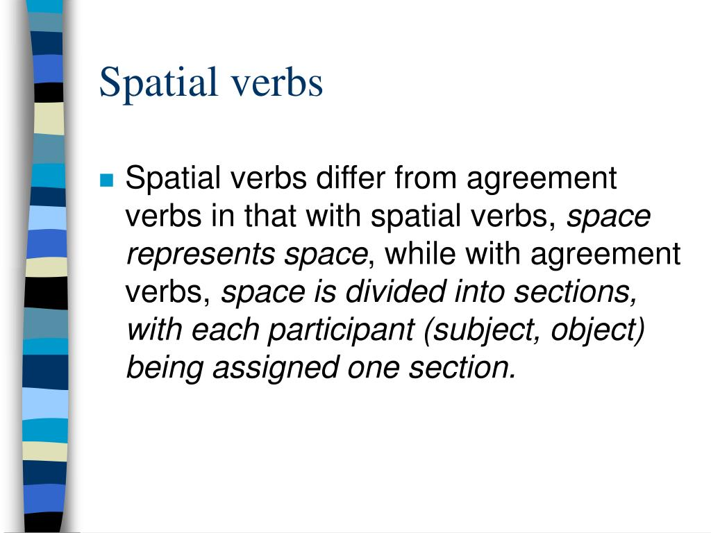Spatial verbs