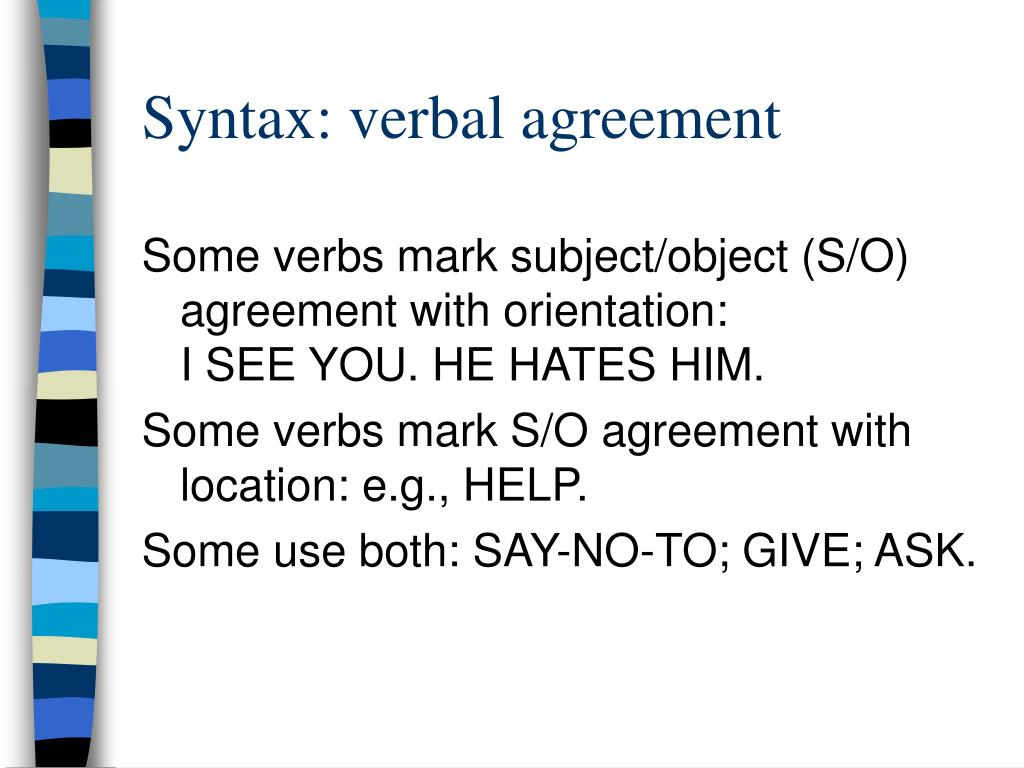 Syntax: verbal agreement