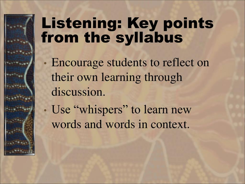 Listening: Key points from the syllabus