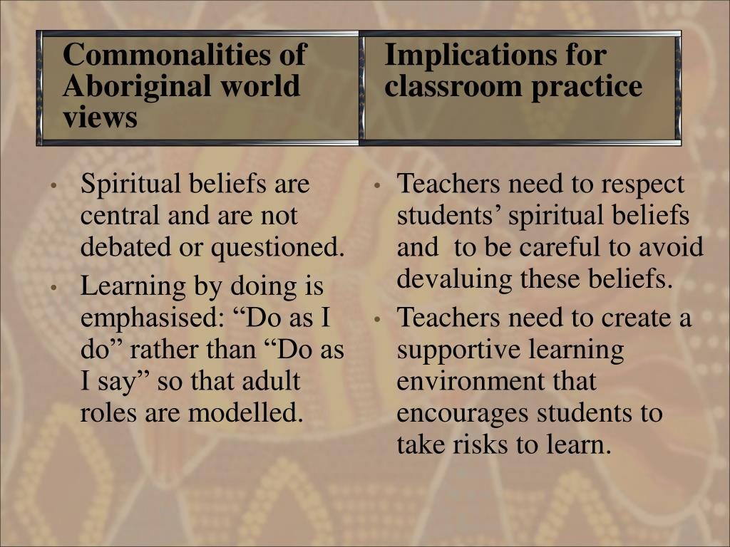 Teachers need to respect students' spiritual beliefs and  to be careful to avoid devaluing these beliefs.