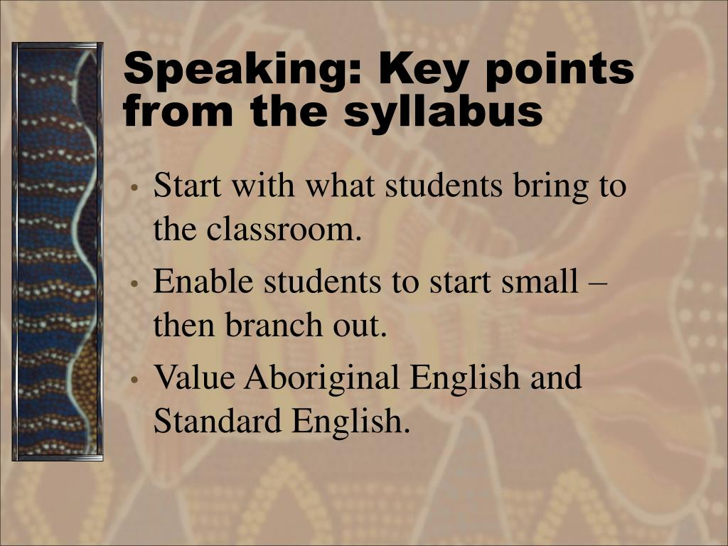 Speaking: Key points from the syllabus