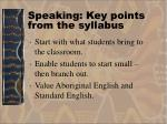 speaking key points from the syllabus