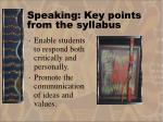 speaking key points from the syllabus17