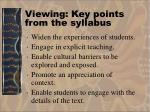 viewing key points from the syllabus