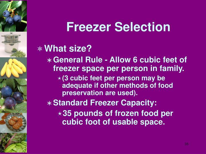 Freezer Selection