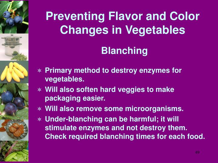 Preventing Flavor and Color Changes in Vegetables