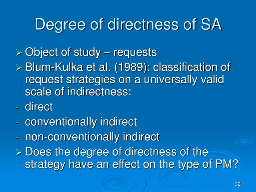 Degree of directness of SA