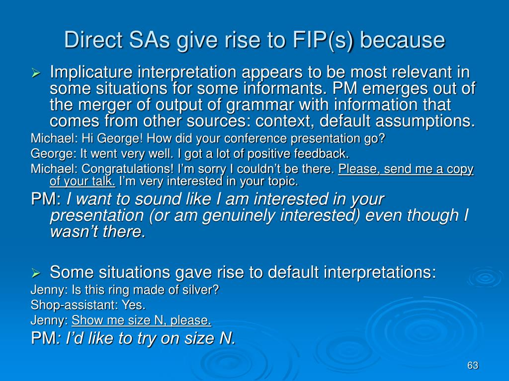 Direct SAs give rise to FIP(s) because