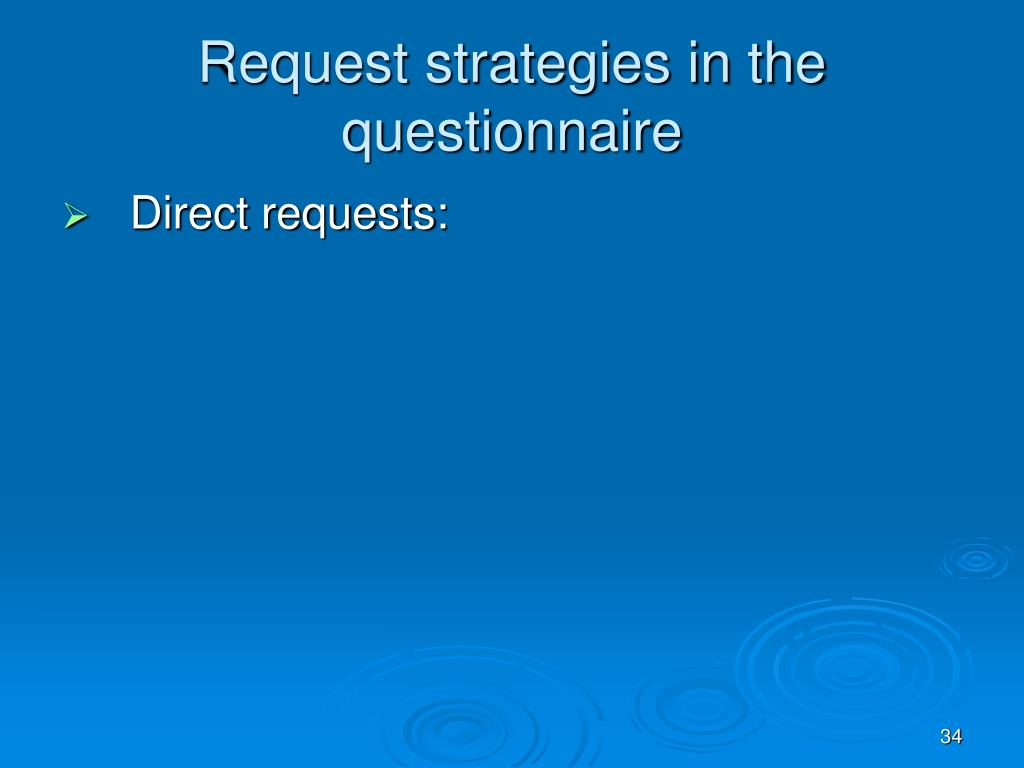 Request strategies in the questionnaire