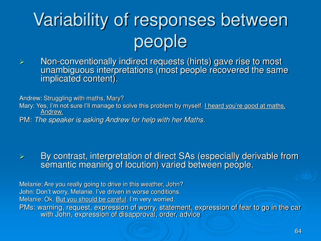 Variability of responses between people