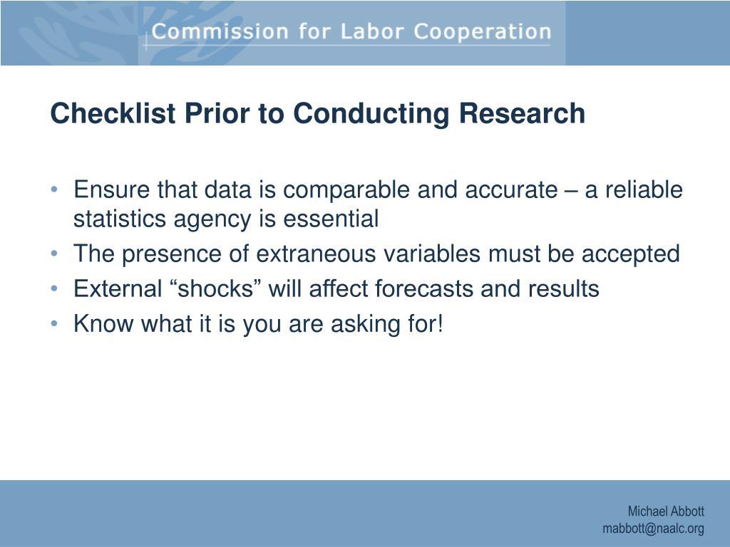 Checklist Prior to Conducting Research