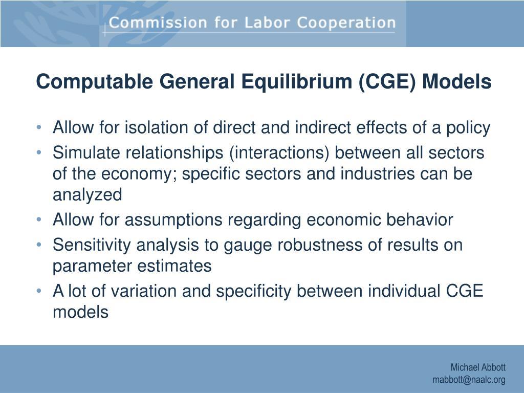 Computable General Equilibrium (CGE) Models