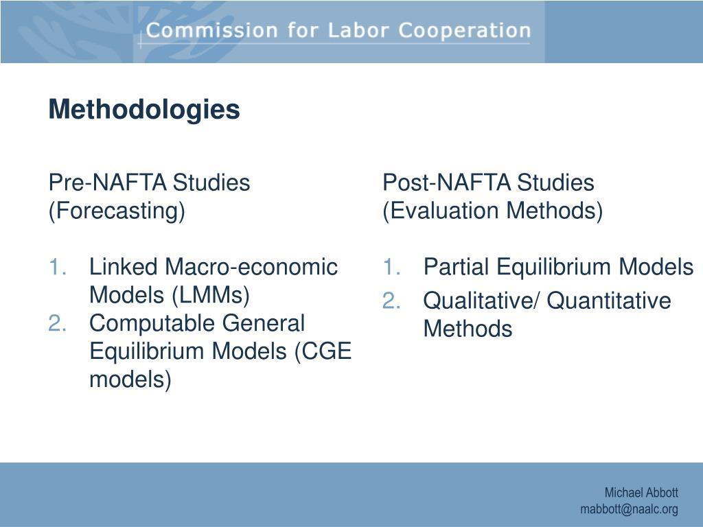 Pre-NAFTA Studies