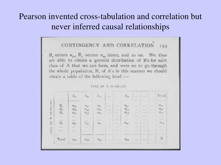 Pearson invented cross-tabulation and correlation but never inferred causal relationships