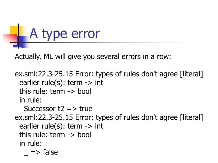 A type error