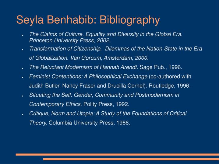 Seyla Benhabib: Bibliography