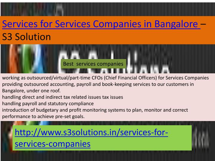 Services for Services Companies in Bangalore