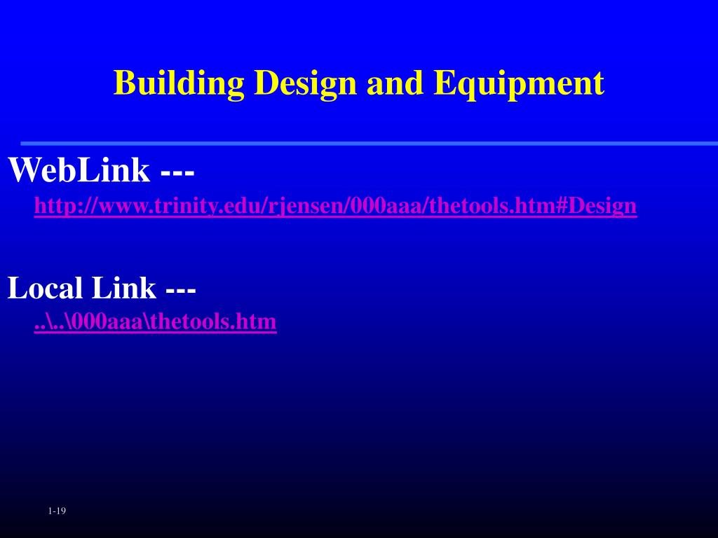 Building Design and Equipment