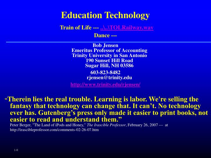 Education technology train of life tolrailway wav dance