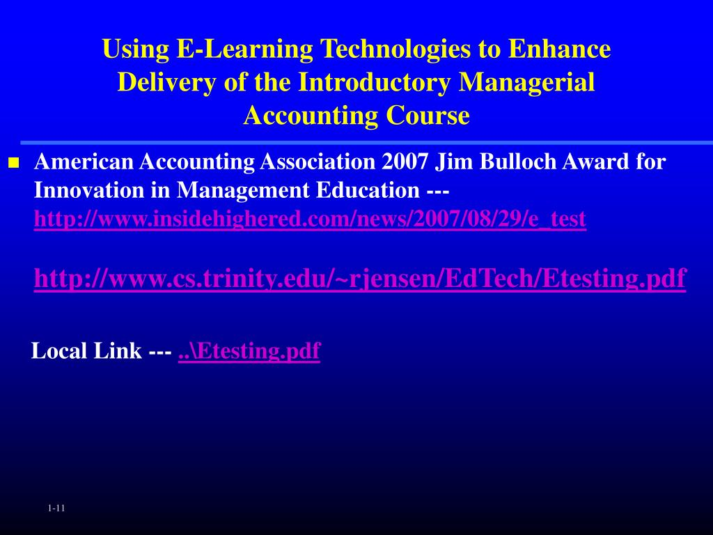 Using E-Learning Technologies to Enhance