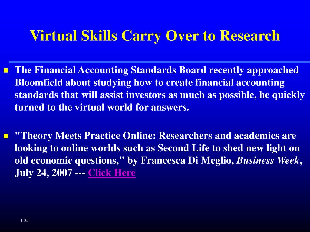 Virtual Skills Carry Over to Research