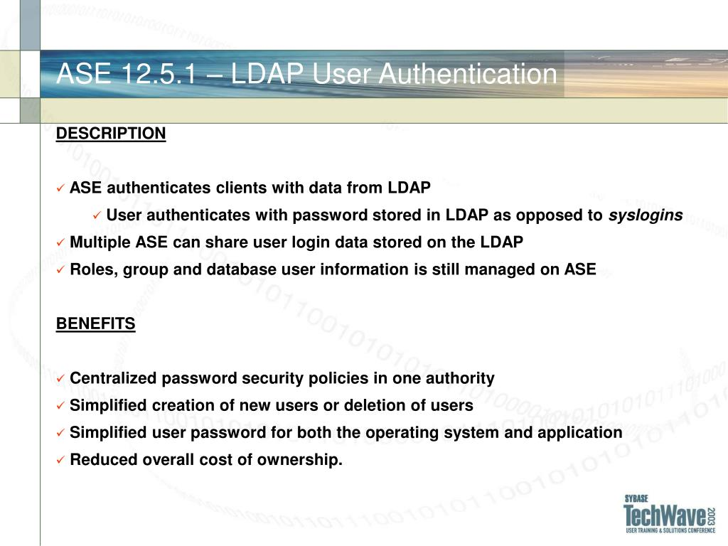 ASE 12.5.1 – LDAP User Authentication