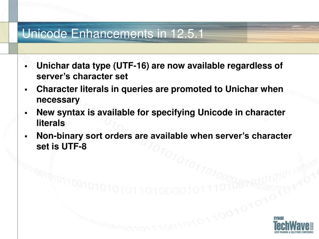 Unicode Enhancements in 12.5.1