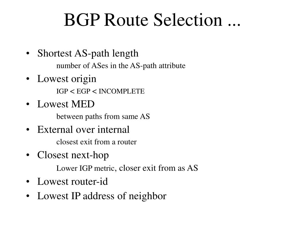 BGP Route Selection ...