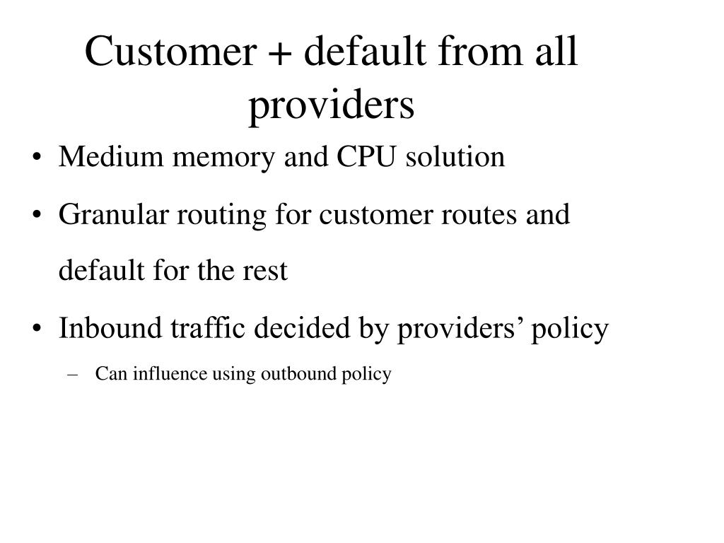 Customer + default from all providers