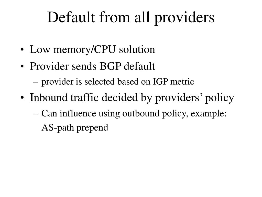 Default from all providers